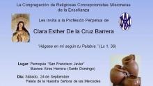 Invitación PRofesión perpetua Clara Esther de la cruz
